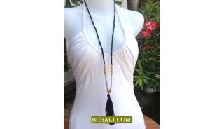 Long Strand BeadsTassel Necklace Pendant