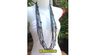 Multi Rope Long Seeds Bead Necklace Fashion
