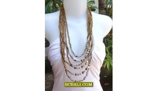 New Beads Gold Necklaces Multi Strand Fashion Women