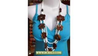Bali Multi Strand Beads Wooden Flower Necklace
