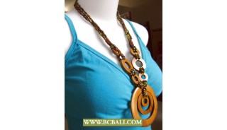 Balinese Hand Painting Wood Necklace