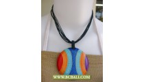 Bcbali Rainbow Wooden Necklace Painted