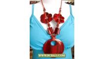 Handmade Wooden Pendant Necklace Chain Flower