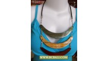 Necklace Triple Wood Coloring Handmade