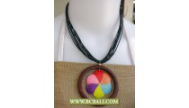Strings Necklace Wooden Pendant Painted