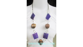 Wooden Beads Long Necklace shells