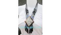 Wooden Seashells Pendants Necklaces Beaded