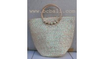Beach Bags Straw With Beads