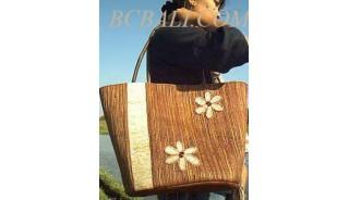 Beach Straw Handbags Flower