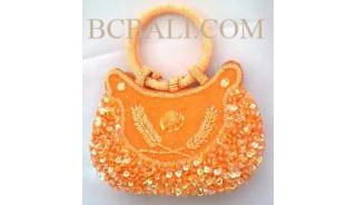Orange Women Bag Motif Beads