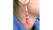 Organic Red Coral Shells Silver Earring