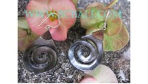 Seashell Carving Earrings Silver