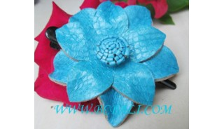 Blue Color Leather Hair Pins