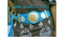 Belt With Hand Carved Pieces Of Mother Of Pearl.