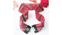 Fashion Belt Wooden Beading Stretch Clasps