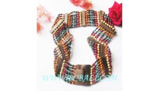 Wooden Beads Belt Multi Color Buckles