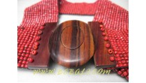 Wooden Buckles Beads Belt