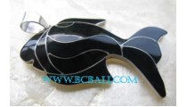 Black Fish Shell Pendant Silver