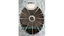 Black Resin Shell Pendant Silver