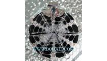 Black Shell Resin Pendant Silver