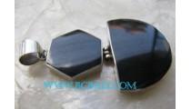 Black Shell Silver Pendant