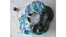 Floral Paua Shell Pendant Silver