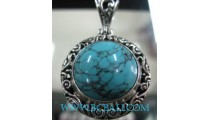 Natural Turquoise Pendant Silver