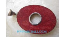 Oval Red Coral Pendant Silver