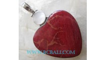 Red Coral With Stone Pendant