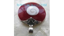 Red Shiva Eyes Pendant Silver