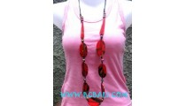 Wooden Necklaces Red Color