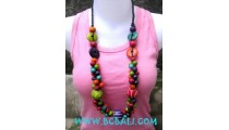Beaded Wood Necklaces Mix Color