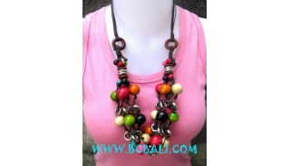 Multi Color Wooden Beads Necklaces