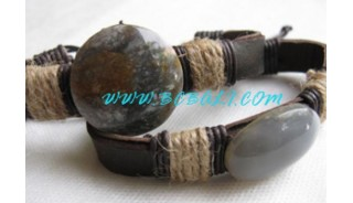 Hand Made Leather Stone Bracelets