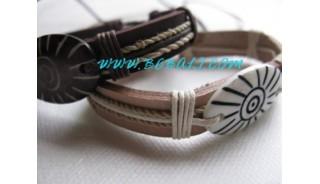 Leather Bone Carving Bracelets