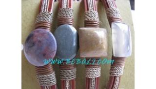 Leather Ladies Stone Bracelets