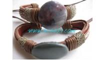 Stone Leather Bracelets