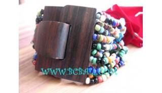 Bead Bracelet Wooden Buckle