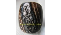 Wooden Balinese Design Rings Painted