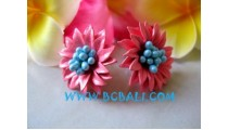 Beads Earrings Mix Leather