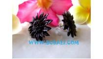 Flower Motive Leather Earrings