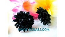 Leather Earrings With Flower Motive