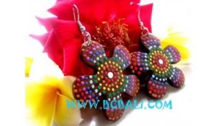 Painted Wooden Earrings  Flower Motive