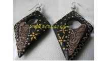 Hand Painting Earrings Natural Wood