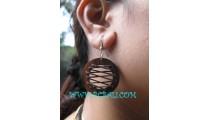 Wooden Ball Earrings Leather