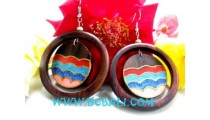 Wooden Earring Painted