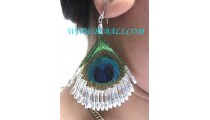 Peacock Beads Feather Earrings