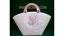 Bali Design Straw Bag Flower
