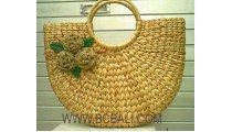 Fashion Seagrass Flower Bag