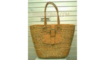 Leather Seagrass Handbag Exotic